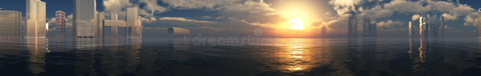 Beautiful panorama of the sea at sunset stock photos