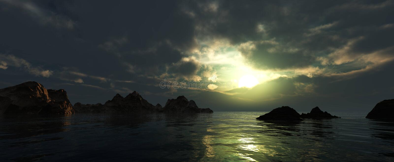 Beautiful panorama of the sea at sunset royalty free stock photography