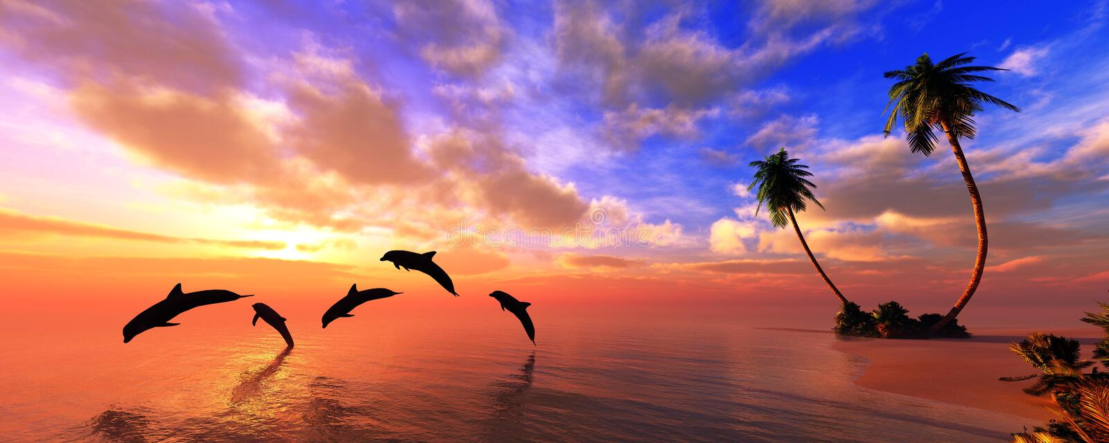 Beautiful panorama of the sea sunset stock photos