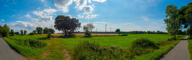 A beautiful panorama shot on the open land stock photo