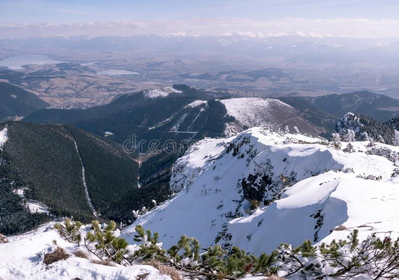 Beautiful panorama of Tatra mountains in winter stock photography