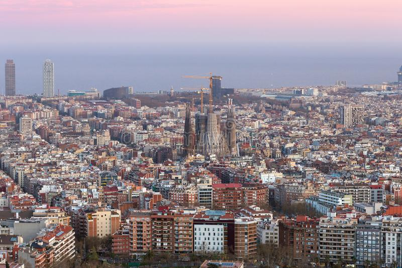 Beautiful panorama view of Barcelona city skyline at sunset time royalty free stock photos