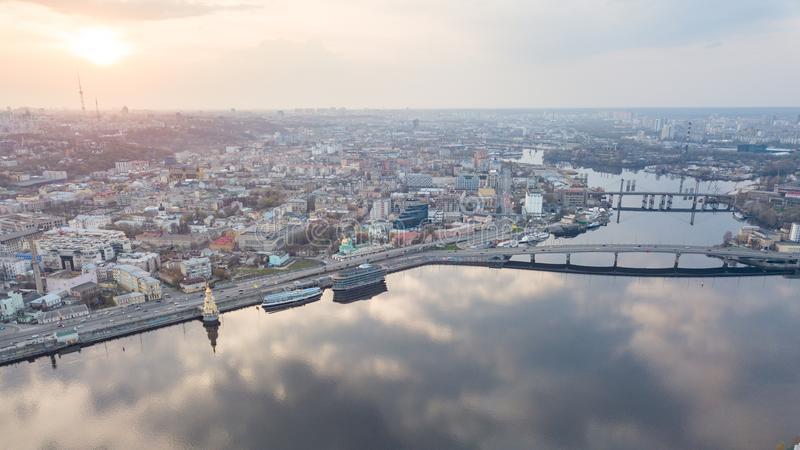Aerial top view of Dnepr river and Podol district from above, Kiev Kyiv city, Ukraine royalty free stock image