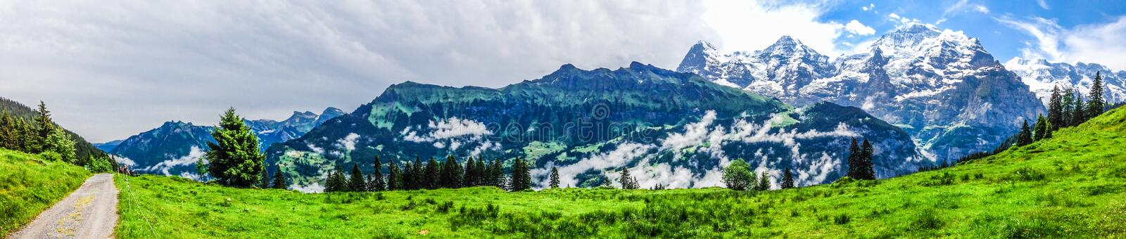 Beautiful Panorama view of Swiss Alps mountains from Murren royalty free stock photos