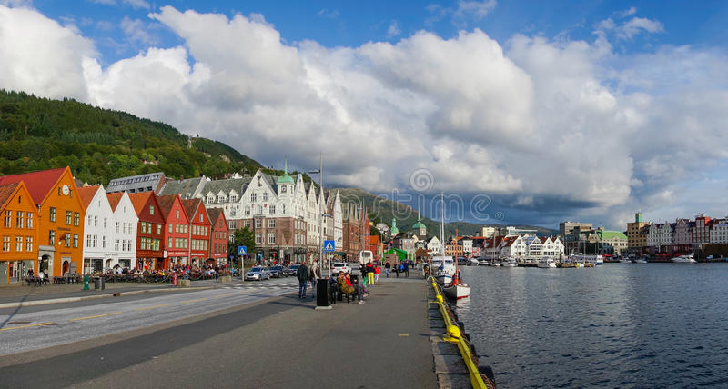 A beautiful panorama of the waterfront Bryggen stock photos