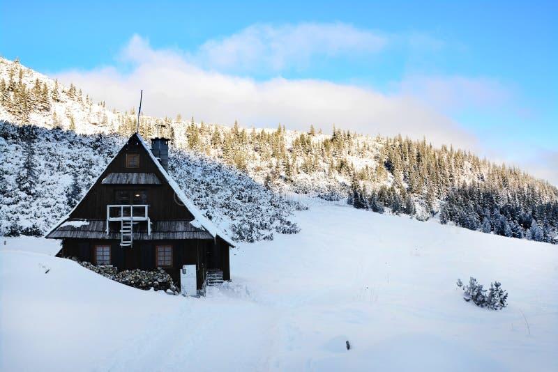 Beautiful panorama of winter Tatra Mountains. mountain shelter. Beautiful panorama of winter Tatra Mountains. Poland stock images