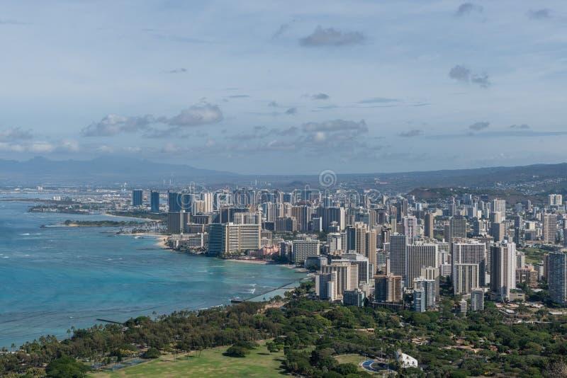 Beautiful panoramic aerial Honolulu and Waikiki beach vista, Oahu. Hawaii stock photos