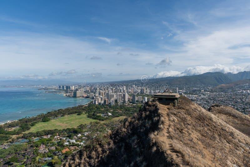 Beautiful panoramic aerial Honolulu and Waikiki beach vista, Oahu stock images