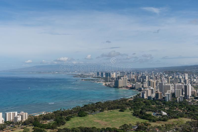Beautiful panoramic aerial Honolulu and Waikiki beach vista, Oahu royalty free stock images