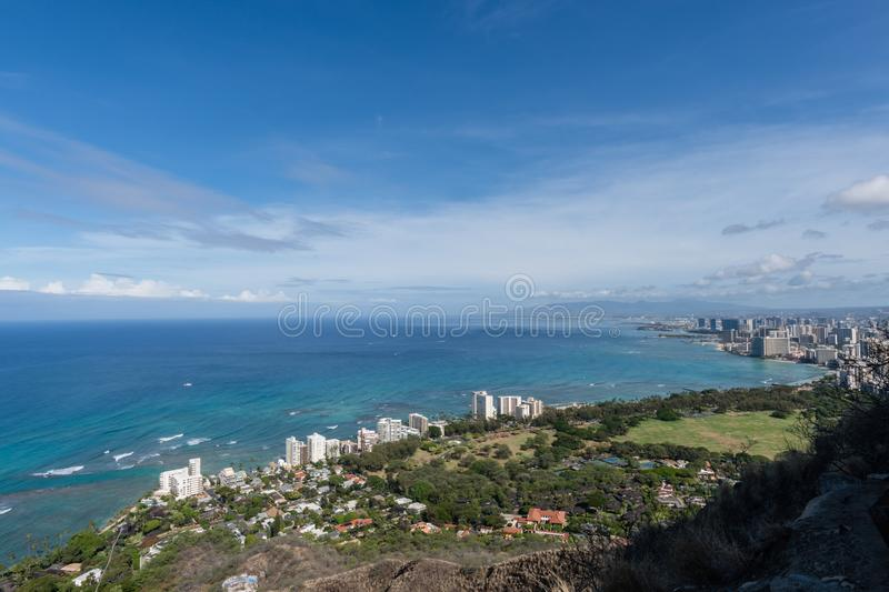 Beautiful panoramic aerial Honolulu and Waikiki beach vista, Oahu stock image