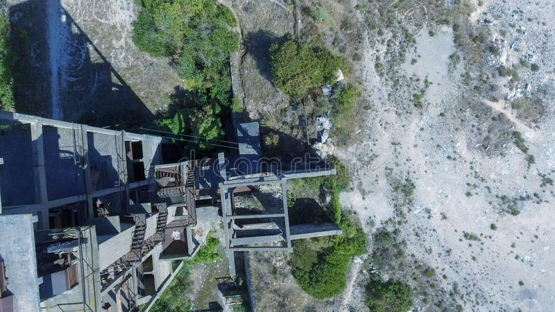 Beautiful panoramic aerial view of Marble Quarry in Italy - Abandoned old industry equipment royalty free stock image
