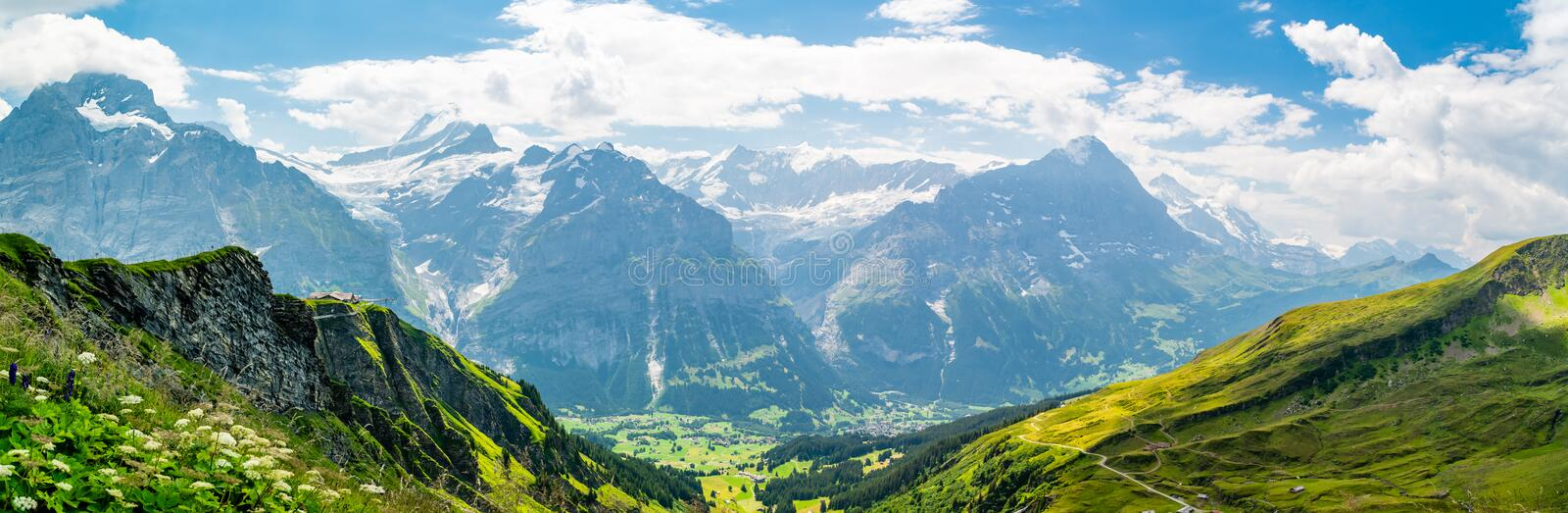 Beautiful panoramic alpine scenery in Swiss Alps near Grindelwald. First royalty free stock image