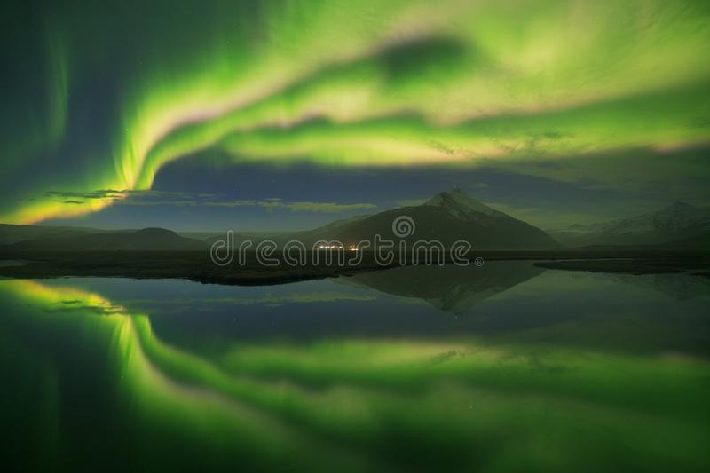 Beautiful panoramic Aurora Borealis or better known as The Northern Lights for background view in Iceland, Jokulsarlon. Beautiful panoramic Aurora Borealis or stock images