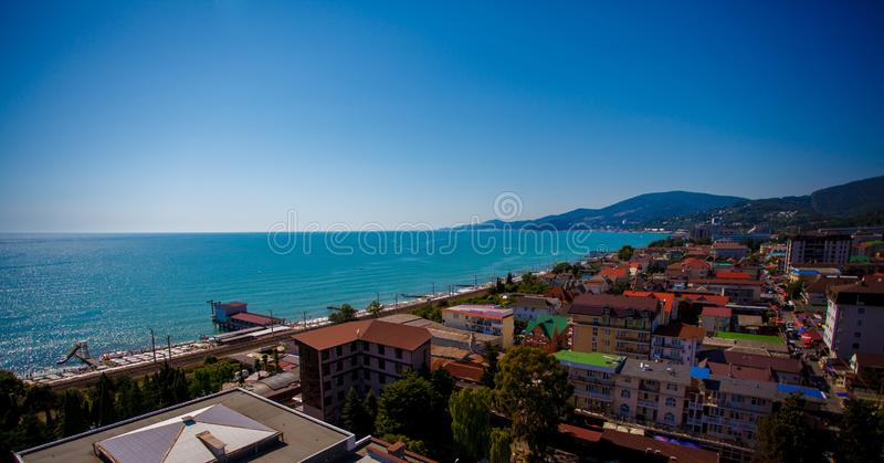 Beautiful panoramic autumn landscape at the resort city of Sochi on the Black sea coast. The view from the top stock photography