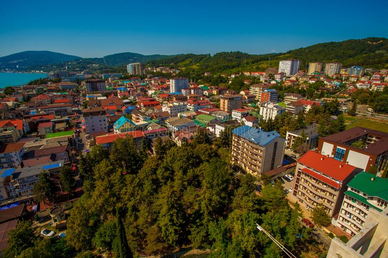 Beautiful panoramic autumn landscape at the resort city of Sochi on the Black sea coast. The view from the top.  stock images