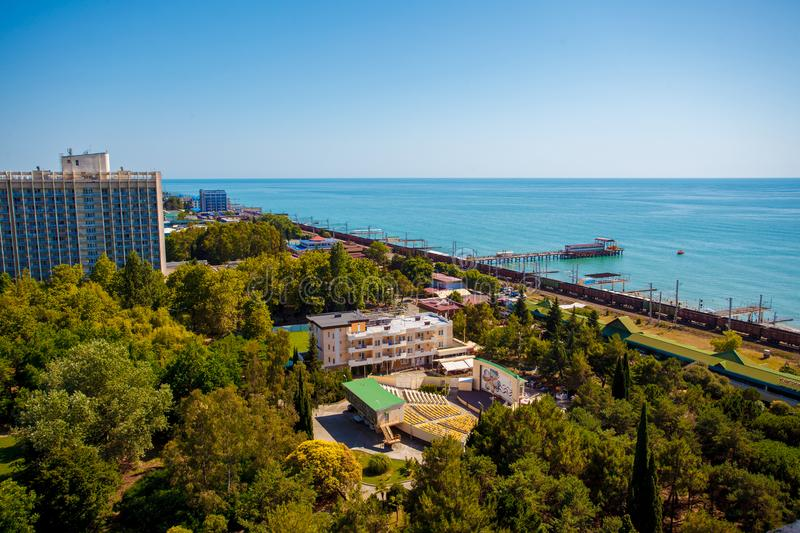 Beautiful panoramic autumn landscape at the resort city of Sochi on the Black sea coast. The view from the top royalty free stock photography
