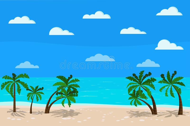 Beautiful panoramic blue sea landscape: calm ocean, palm trees, clouds, sand coastline, Vector illustration of exotic tropical vector illustration