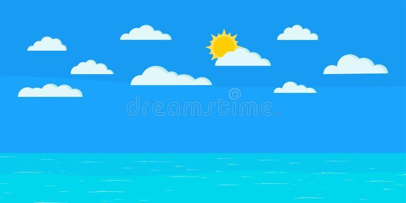Beautiful panoramic blue seascape background: calm ocean, sun, clouds stock illustration