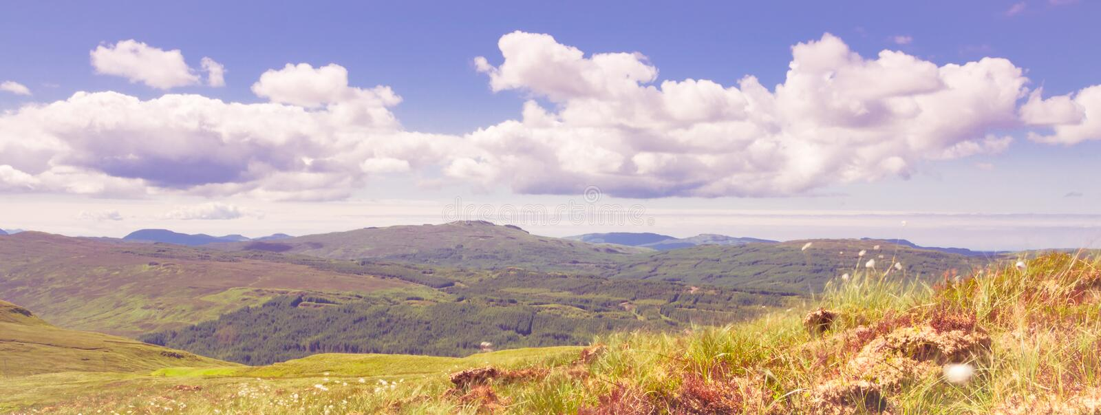 Beautiful panoramic images from isle of skye island in the Highlands of Scotland - amazing views, breathable,storm, dark clouds, a royalty free stock image