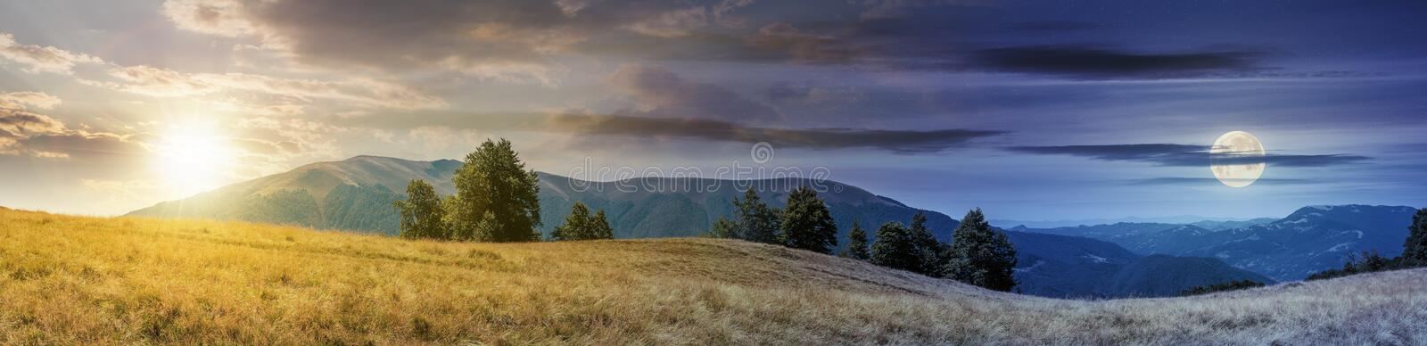 Beautiful panoramic landscape in august. Row of beech trees on the meadow in weathered grass. mountain range in the distance with sun and moon on the sky. day royalty free stock photos