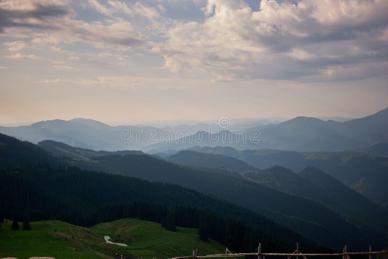 Beautiful panoramic landscape of Carpathian Mountains. stock photo