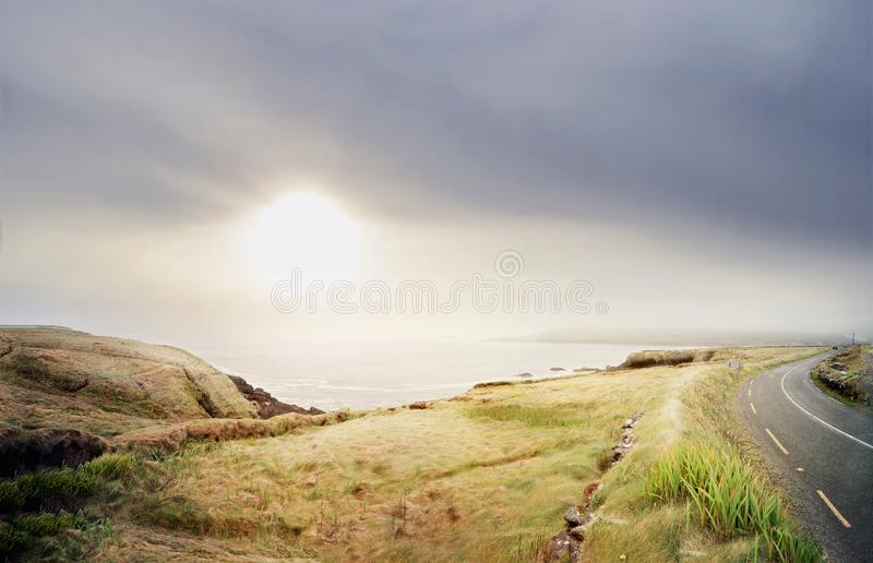 Beautiful panoramic landscape with hazy sun royalty free stock images