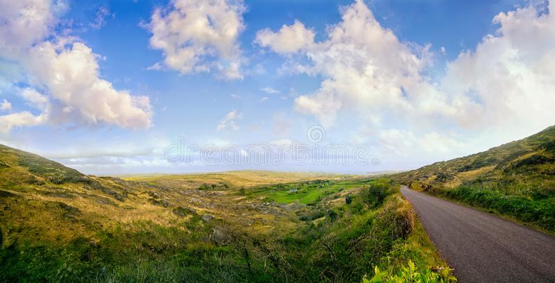 Beautiful panoramic landscape with a road in west Cork stock image
