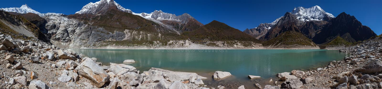 Beautiful panoramic landscapes of Himalaya mountains along Manaslu circuit track in Nepal stock photography