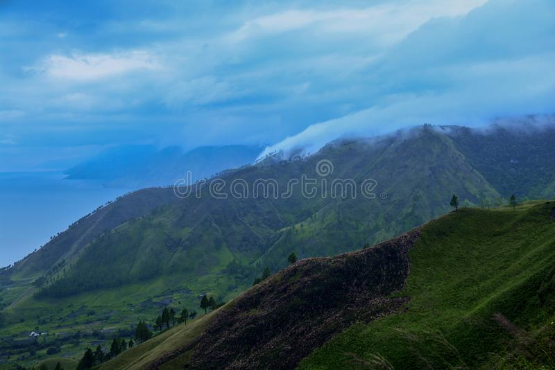 Beautiful Panoramic nature view of lake Toba from Berastagi, Medan, Indonesia stock images