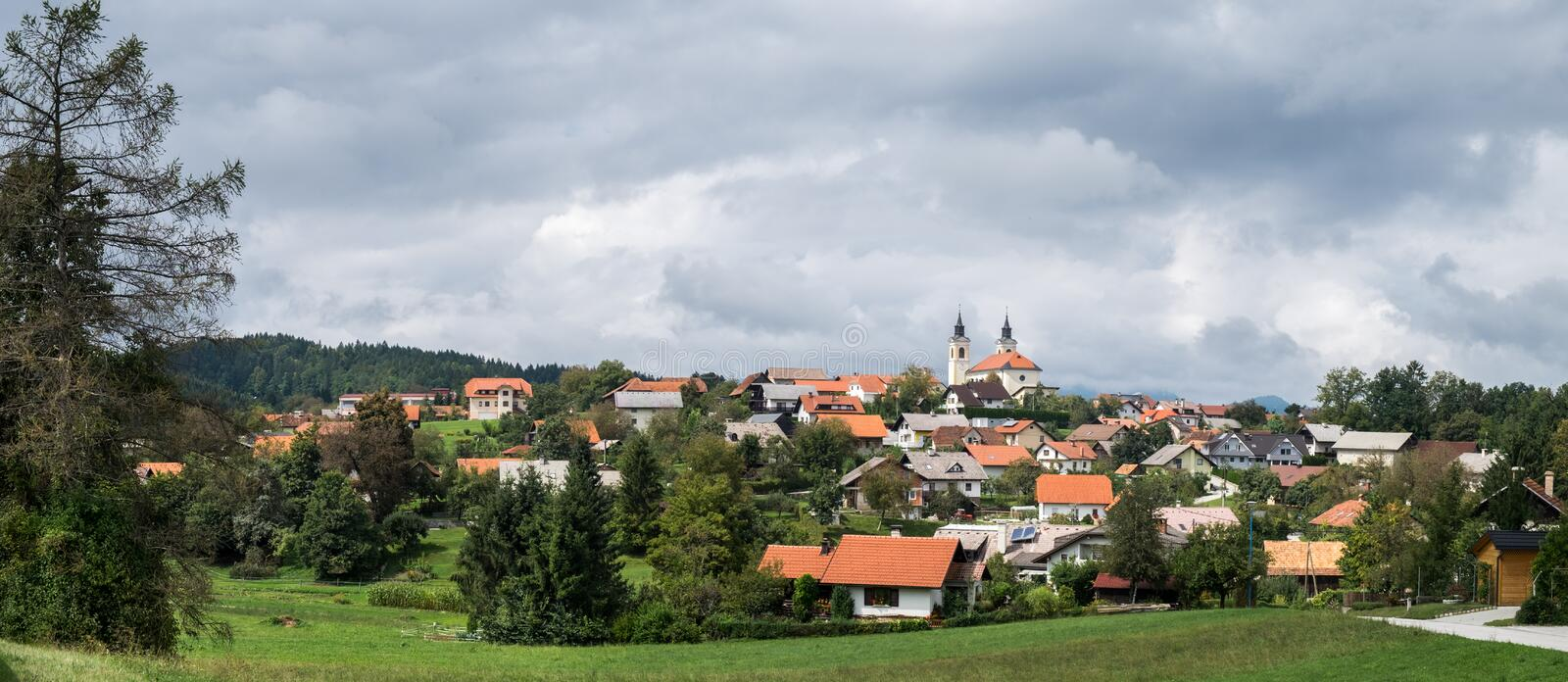 Beautiful panoramic pastoral view on Velike Lasce town. Slovenia royalty free stock photos