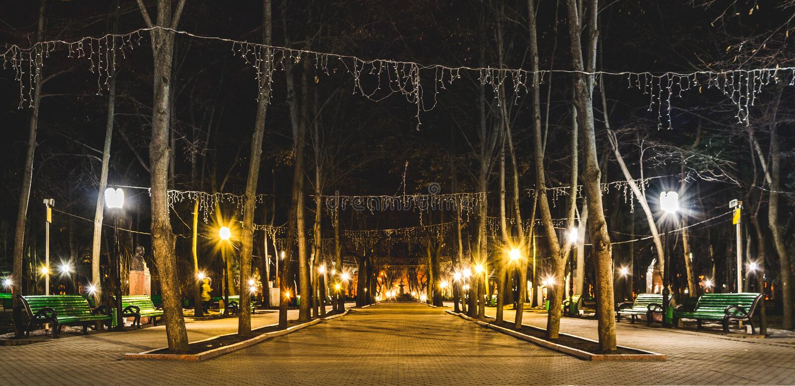 Beautiful panoramic photo of Alley of Classics in Chisinau, Moldova. stock images