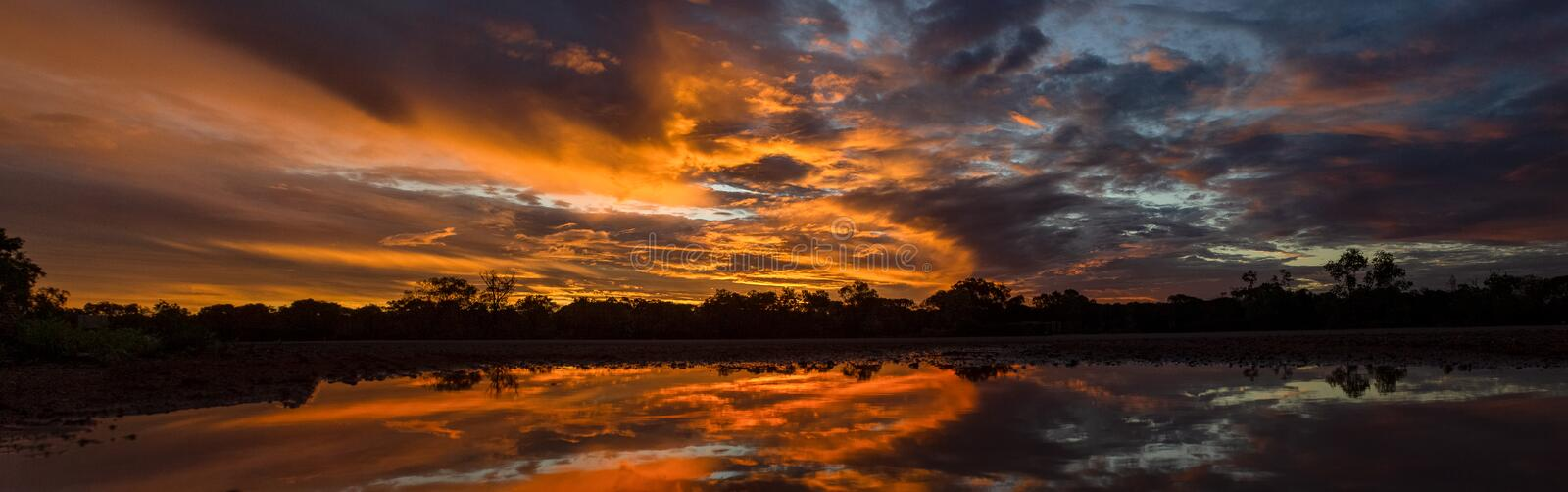 beautiful Panoramic sunset in the queensland outback 200 km north of cloncurry, queensland australia stock photography