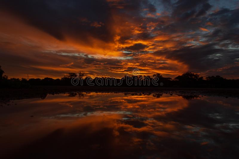beautiful Panoramic sunset in the queensland outback 200 km north of cloncurry, queensland australia stock image