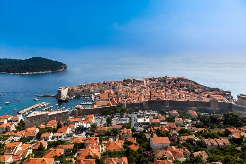 Beautiful panoramic view from above Dubrovnik Croatia. royalty free stock image