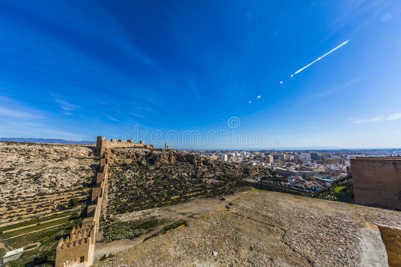 Beautiful panoramic view of the Alcazaba wall with the city of Almería in the background stock images