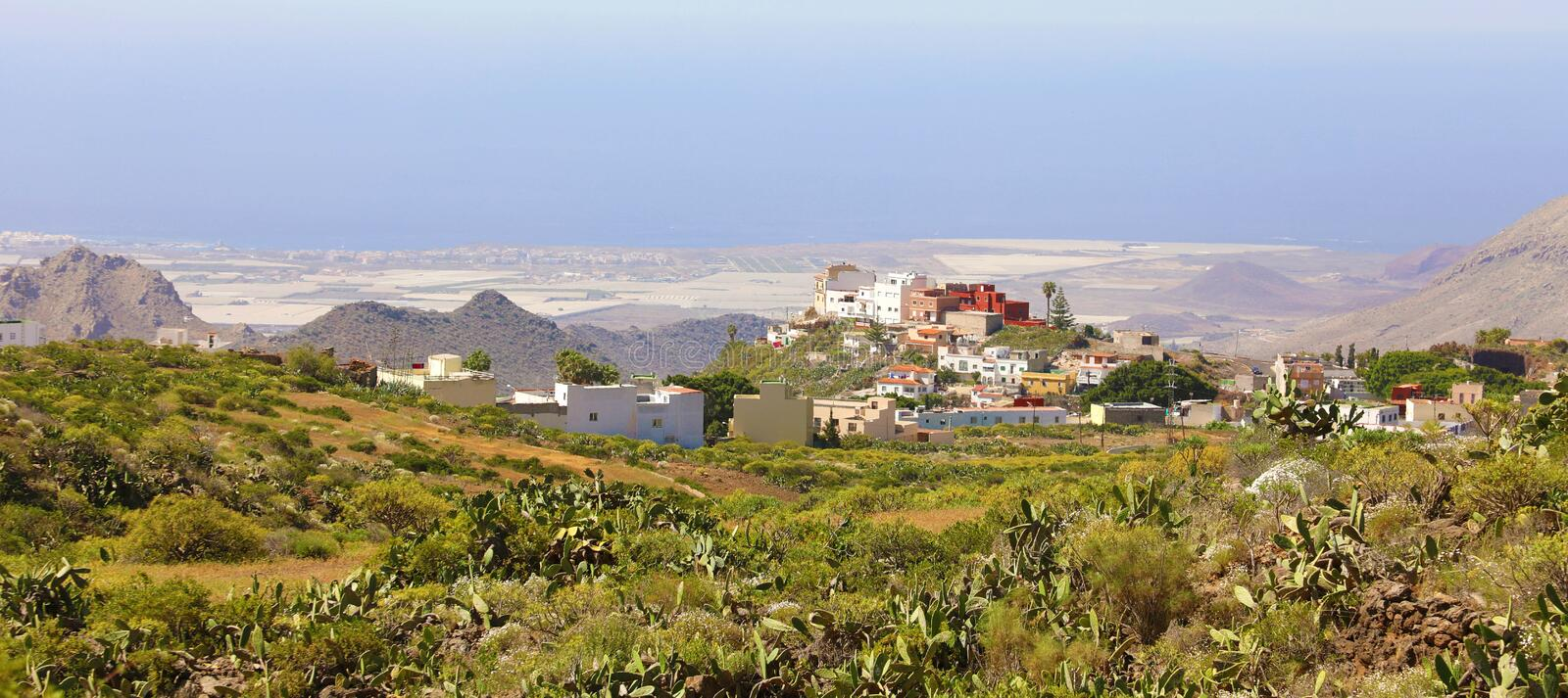 Beautiful panoramic view of Arona village on Tenerife, Canary Islands, Spain stock image