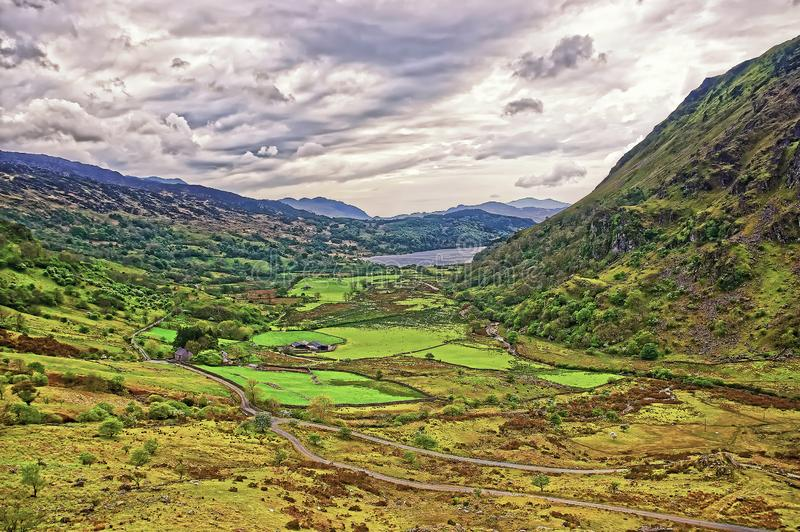 Beautiful Panoramic view of Chain of mountains National Park Snowdonia stock image