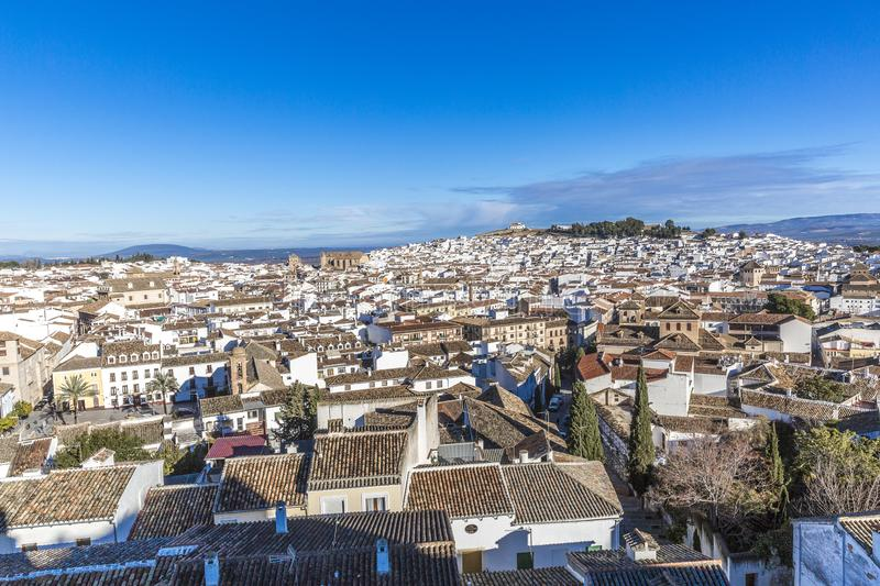Beautiful panoramic view of the city of Antequera with its white houses and tile roofs royalty free stock photography