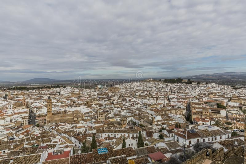 Beautiful panoramic view of the city of Antequera and the Royal Collegiate of San Sebastian royalty free stock images