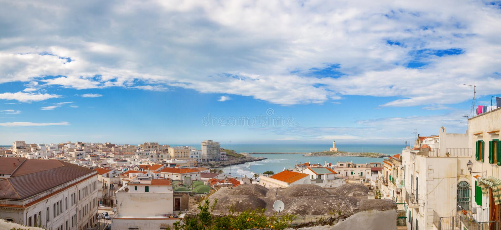 Panorama of Italian city Vieste, Gargano royalty free stock images