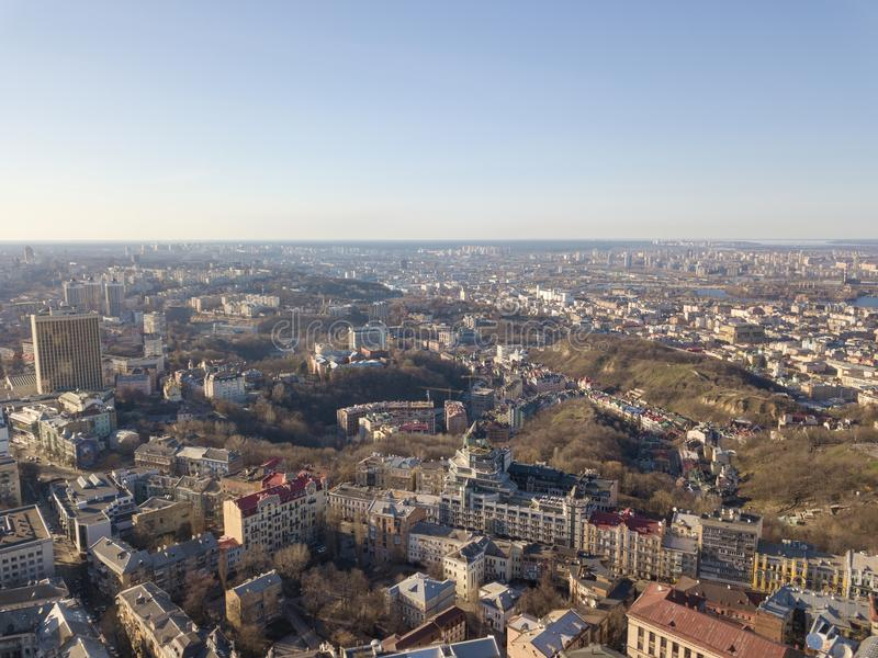 Beautiful panoramic view of Kiev, Vozdvizhenka district. Drone photograph. Beautiful panoramic view of the district Vozdvizhenka on Podol with modern houses and stock photography