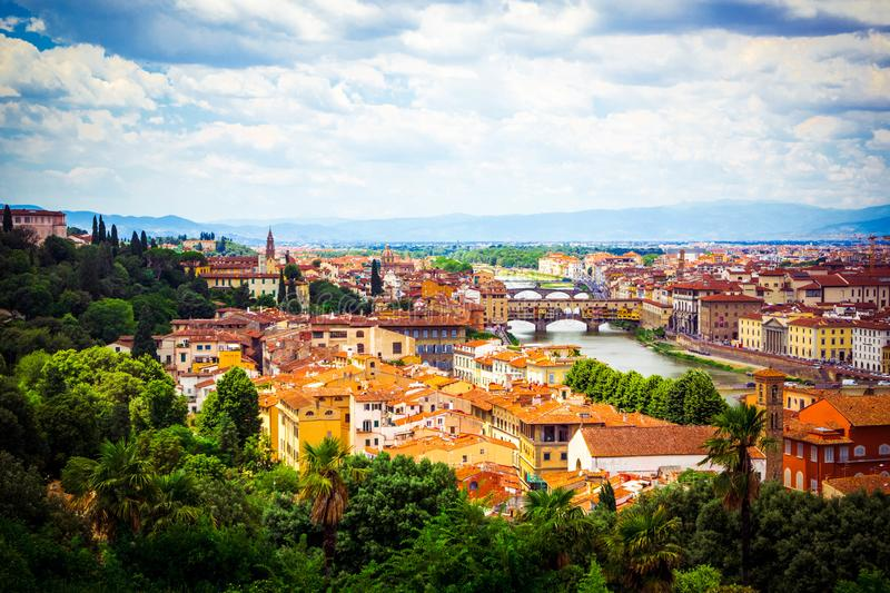 Beautiful panoramic view Florence Firenze, Italian renaissance churches. Summer scenery. Sunny day, blue sky with cumulus clouds. Florence, Tuscany, Italy royalty free stock photo