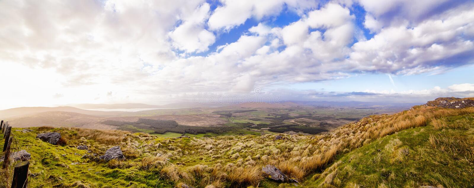 Beautiful panoramic view at the foot of the Mount Gabriel in the royalty free stock photography