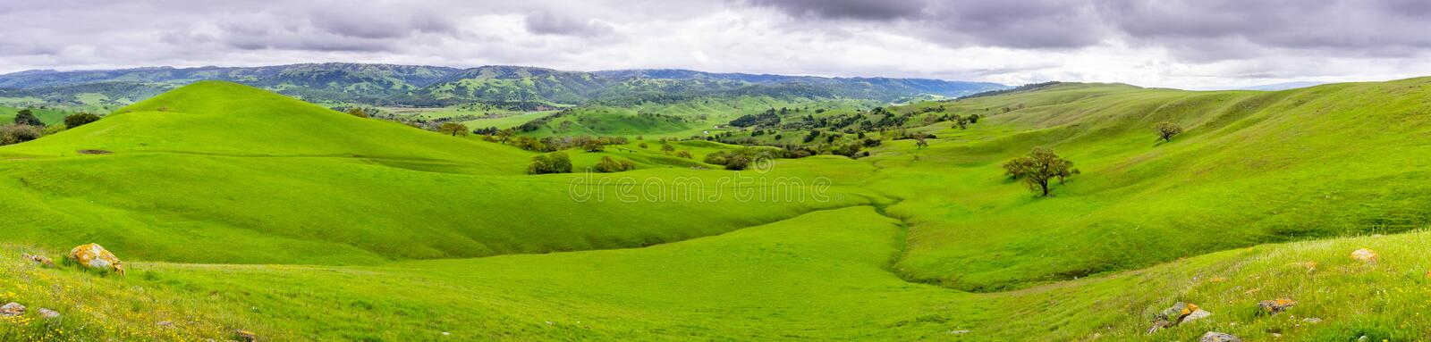 Beautiful panoramic view of green hills and valleys in south of San Jose, south San Francisco bay area, California stock images