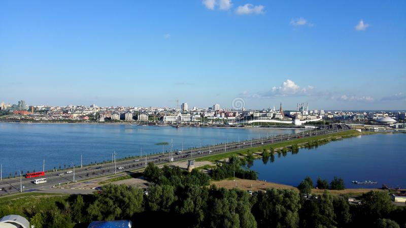 Beautiful panoramic view of the Kremlin in Kazan royalty free stock image