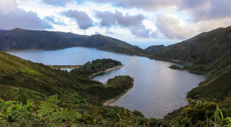 Beautiful panoramic view of Lagoa do Fogo, Lake of Fire, in São Miguel Island, Azores. Portugal royalty free stock images