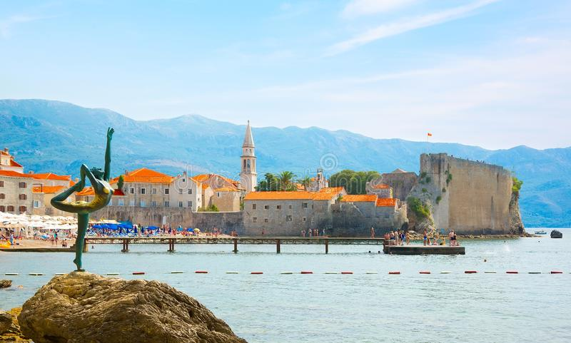 Beautiful Panoramic view of Old medieval town Budva, Montenegro stock photography