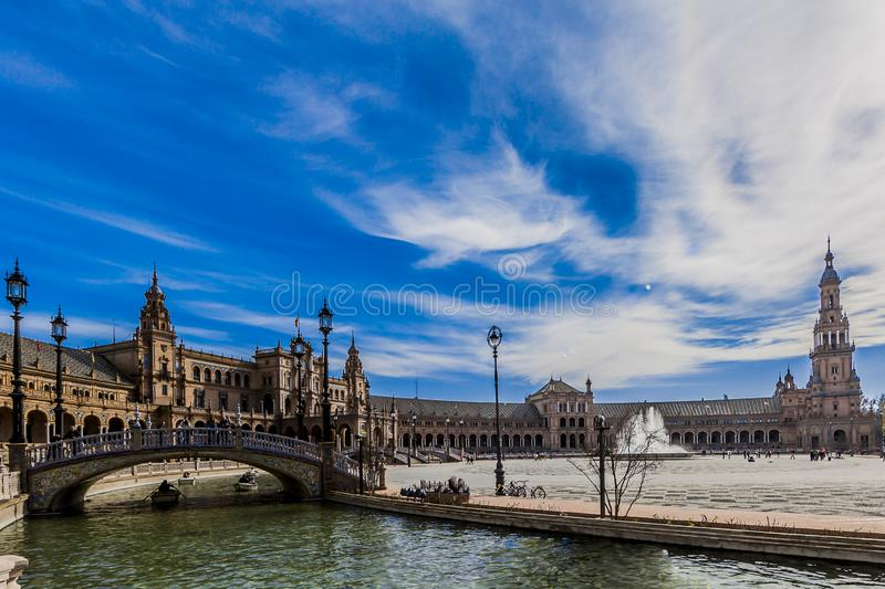 Beautiful panoramic view of the plaza de españa in seville stock image