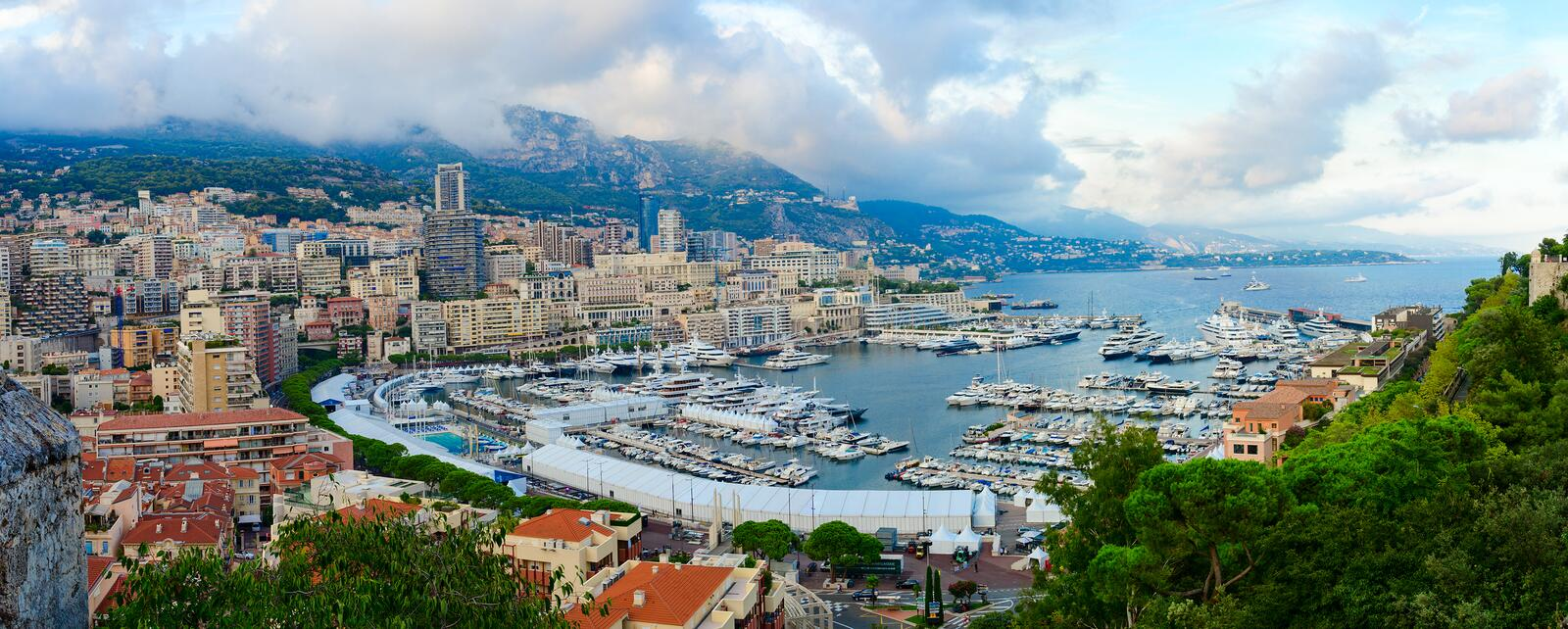 Beautiful panoramic view of port area La Condamine and Monte Carlo, Principality of Monaco royalty free stock photo