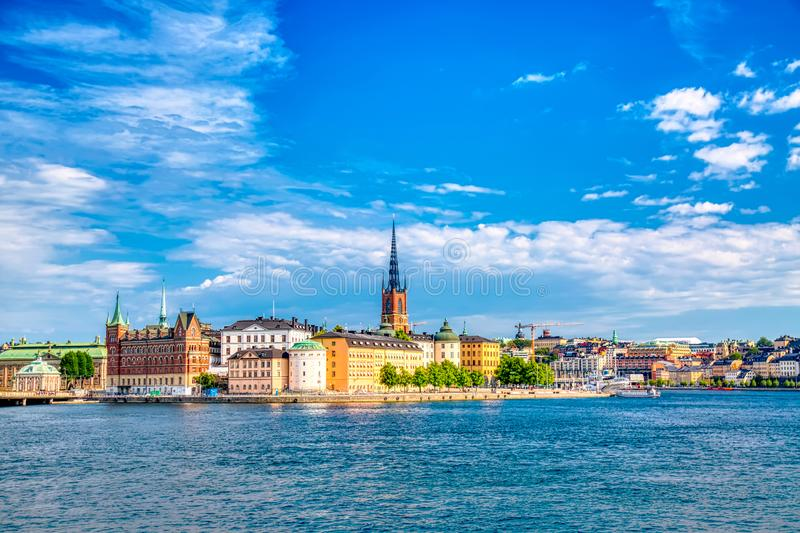 Beautiful panoramic view of Stockholm Old town Gamla Stan. Summer sunny day in Stockholm, Sweden royalty free stock photos